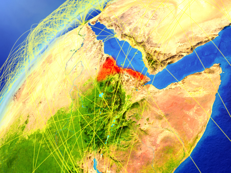 Eritrea on model of planet Earth with international networks. Concept of digital communication and technology. 3D illustration.