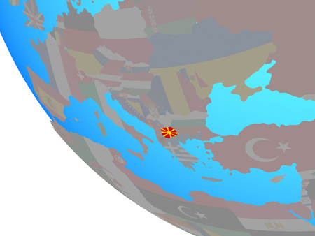 Macedonia with national flag on simple globe. 3D illustration.