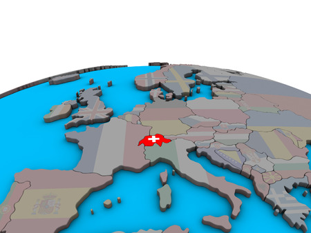 Switzerland with embedded national flag on political 3D globe. 3D illustration. Banque d'images - 113471906