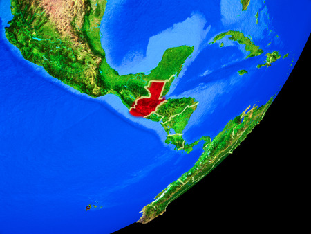 Guatemala on planet Earth with country borders and highly detailed planet surface. 3D illustration.