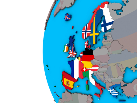 Western Europe with national flags on blue political 3D globe. 3D illustration.