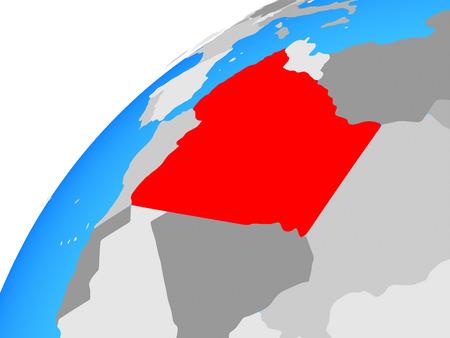 Algeria on globe. 3D illustration. Stock Photo