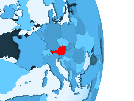 Austria in red on simple blue political globe with visible country borders and transparent oceans. 3D illustration.
