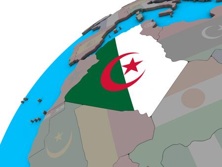 Algeria with national flag on 3D globe. 3D illustration. Stock Photo