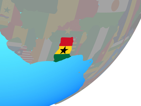 Ghana with embedded national flag on blue political globe. 3D illustration.