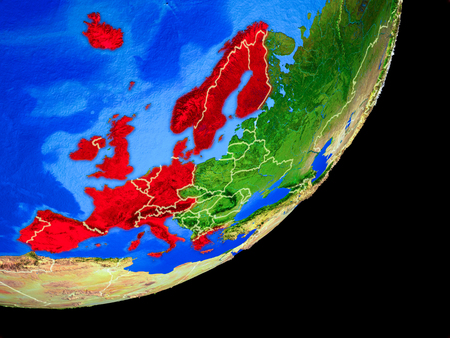 Western Europe on planet Earth with country borders and highly detailed planet surface. 3D illustration.