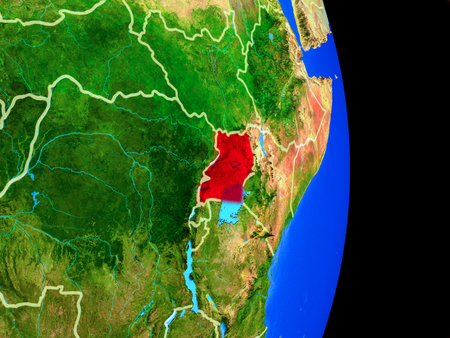 Uganda on realistic model of planet Earth with country borders and very detailed planet surface. 3D illustration.