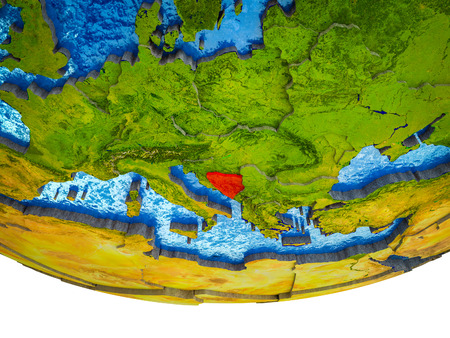 Bosnia and Herzegovina on 3D Earth with divided countries and watery oceans. 3D illustration.