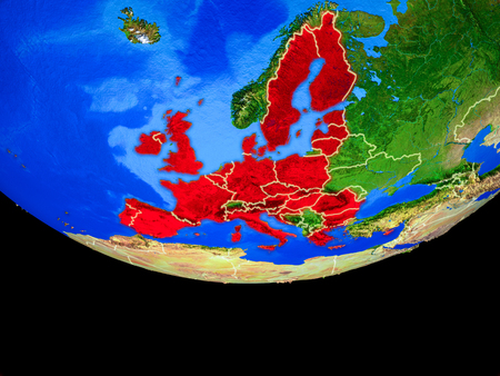 European Union from space on model of planet Earth with country borders. 3D illustration. Stock Photo