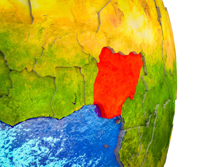 Nigeria on 3D model of Earth with divided countries and blue oceans. 3D illustration.