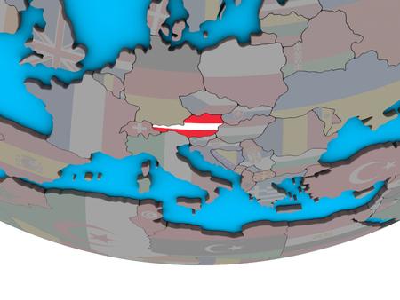 Austria with embedded national flag on simple political 3D globe. 3D illustration. Standard-Bild - 113472302