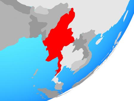 Myanmar on blue political globe. 3D illustration.