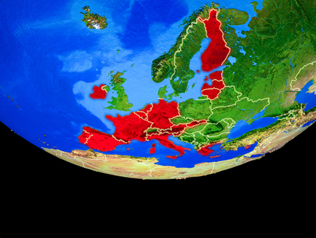 Eurozone member states from space on model of planet Earth with country borders. 3D illustration.