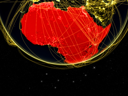 Africa on dark Earth with networks. Concept of intercontinental connections. 3D illustration. Stock Photo