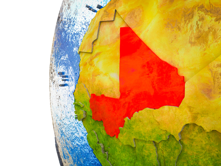Mali highlighted on 3D Earth with visible countries and watery oceans. 3D illustration.