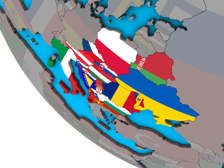 CEI countries with embedded national flags on simple 3D globe. 3D illustration.