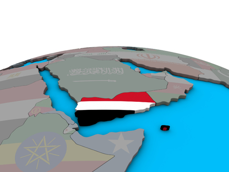 Yemen with embedded national flag on political 3D globe. 3D illustration. Stock Photo