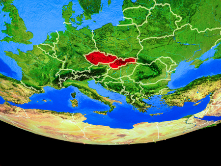 Former Czechoslovakia from space on model of planet Earth with country borders. 3D illustration.