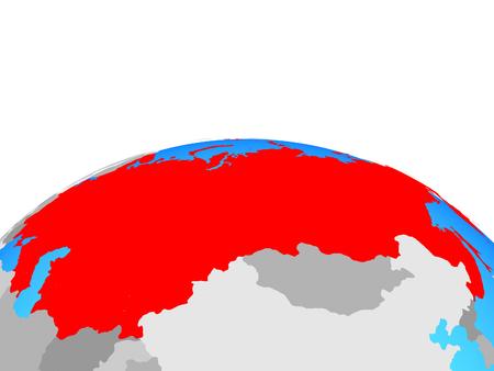 Soviet Union on political globe. 3D illustration.