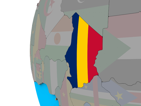 Chad with national flag on blue political 3D globe. 3D illustration.
