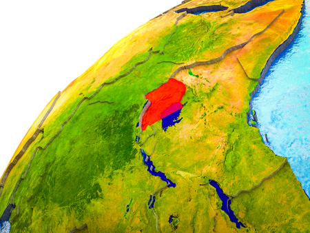 Uganda on 3D Earth model with visible country borders. 3D illustration.
