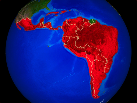 Latin America from space on model of planet Earth with country borders and very detailed planet surface. 3D illustration. 写真素材
