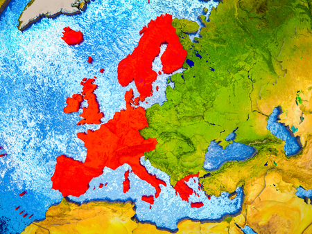 Western Europe on model of 3D Earth with blue oceans and divided countries. 3D illustration. Banco de Imagens