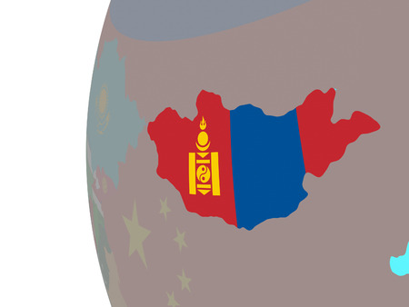 Mongolia with embedded national flag on blue political globe. 3D illustration.