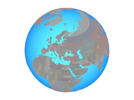 Crimea with national flag on blue political globe. 3D illustration isolated on white background. Stock Photo