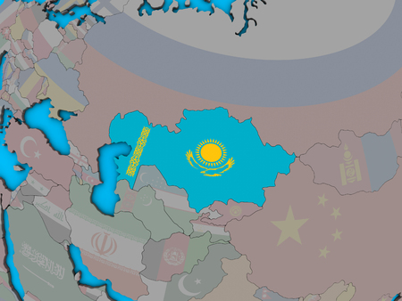 Kazakhstan with embedded national flag on blue political 3D globe. 3D illustration.