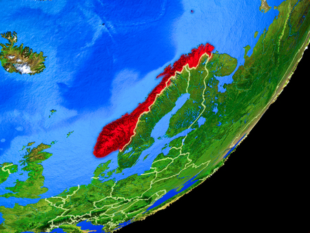 Norway on planet Earth with country borders and highly detailed planet surface. 3D illustration.