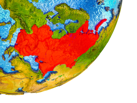 Eastern Europe on 3D model of Earth with water and divided countries. 3D illustration.