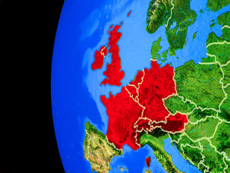 Western Europe from space on realistic model of planet Earth with country borders and detailed planet surface. 3D illustration. Banco de Imagens