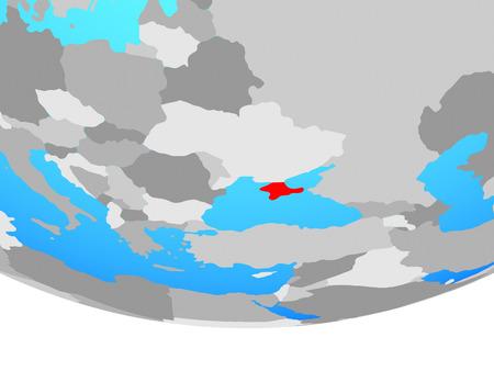 Crimea on simple political globe. 3D illustration.