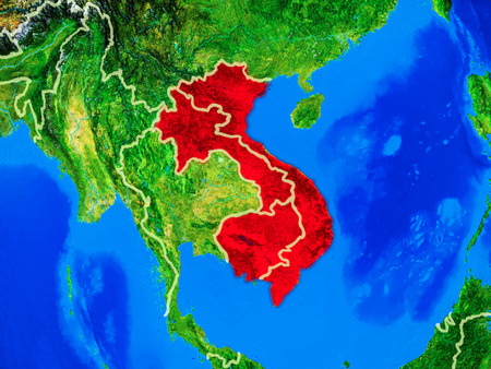 Indochina from space on model of planet Earth with country borders and very detailed planet surface. 3D illustration.