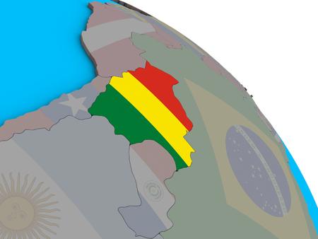 Bolivia with embedded national flag on simple blue political 3D globe. 3D illustration.