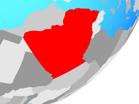 Algeria on blue political globe. 3D illustration. Stock Photo