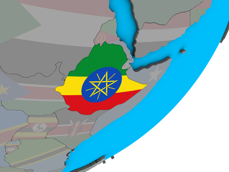 Ethiopia with national flag on blue political 3D globe. 3D illustration. Stock Photo