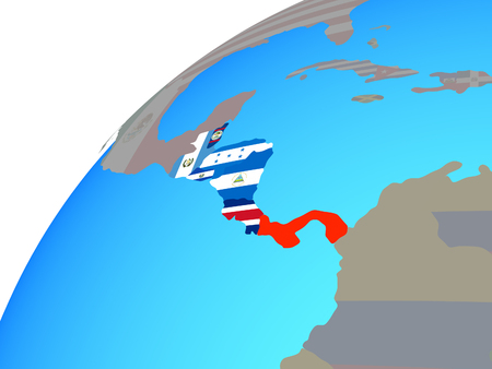 Central America with embedded national flags on globe. 3D illustration. 版權商用圖片