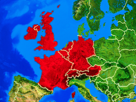 Western Europe from space on model of planet Earth with country borders and very detailed planet surface. 3D illustration.