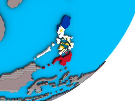 Philippines with national flag on blue political 3D globe. 3D illustration.