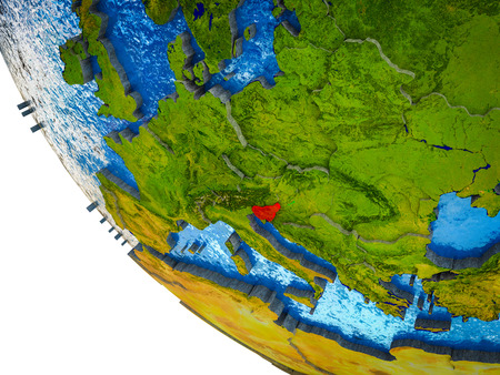 Slovenia on model of Earth with country borders and blue oceans with waves. 3D illustration.