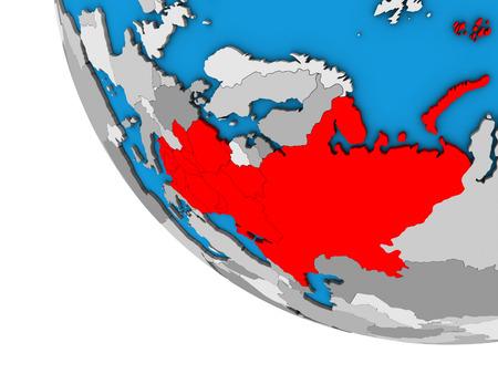 Eastern Europe on simple 3D globe. 3D illustration. Stock Photo