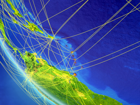 Caribbean on planet Earth from space with network. Concept of international communication, technology and travel. 3D illustration.