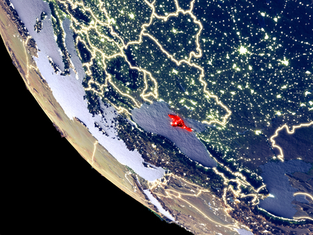 Orbit view of Crimea at night with bright city lights. Very detailed plastic planet surface. 3D illustration.