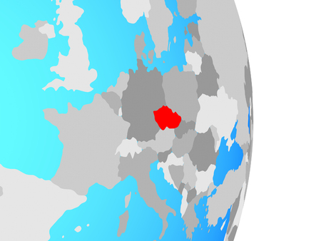 Czech republic on simple political globe. 3D illustration. Stok Fotoğraf