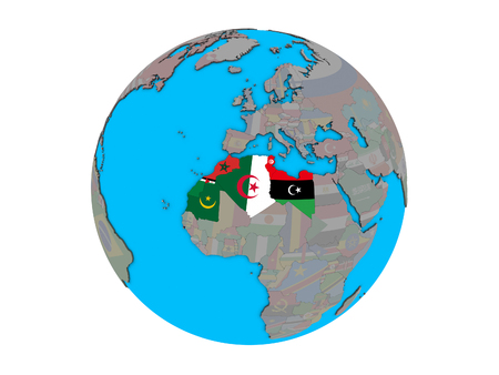 Maghreb region with embedded national flags on blue political 3D globe. 3D illustration isolated on white background. 写真素材