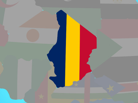 Chad with national flag on blue political globe. 3D illustration.