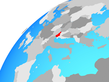 Slovenia on globe. 3D illustration. Imagens