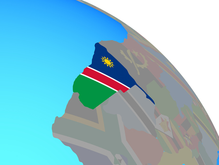 Namibia with national flag on simple blue political globe. 3D illustration.